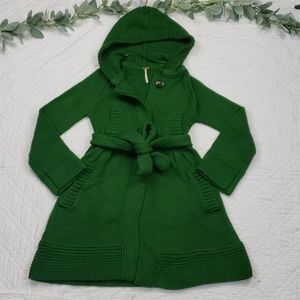 Free People Womens Green Crochet Trench Cardigan